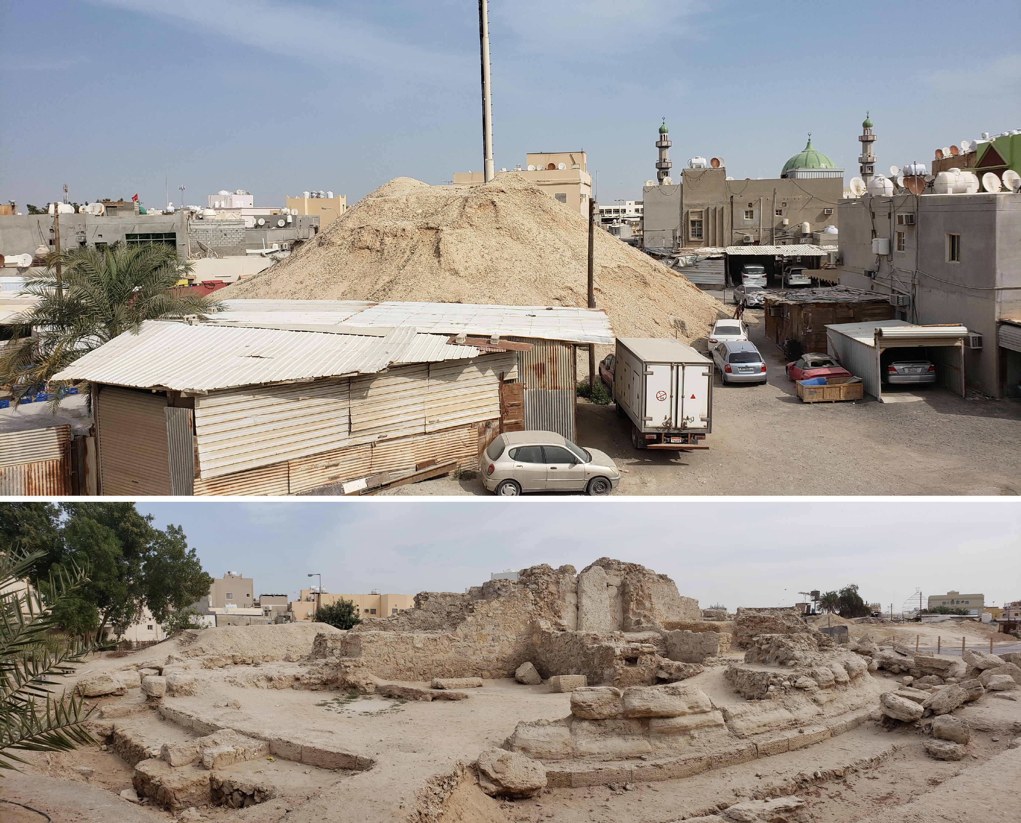 (Top)One of huge burial mounds considered to be of a royal occupant (Bottom)A royal mound excavated by the Bahrain team. The entrance to the burial chamber is locked by a huge monolith.